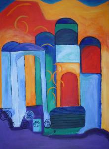 Abstracte schilderij van een kleurige kathedraal, tegen een bontgekleurde achtergrond