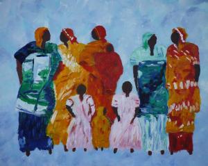 Kleurig schilderij van Afrikaanse vrouwen met kinderen, tegen lichtblauwe achtergrond