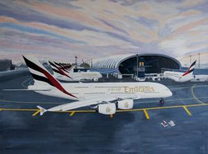 Schilderij van terminal 3 DXB in Dubai, met meerdere Airbus A380 vliegtuigen ervoor