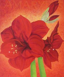 Kleurig schilderij van drie rode Amaryllis bloemen tegen een oranje achtergond