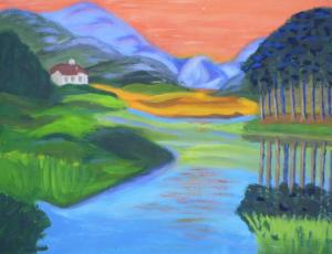 Kleurig berglandschap, met water op de voorgrond