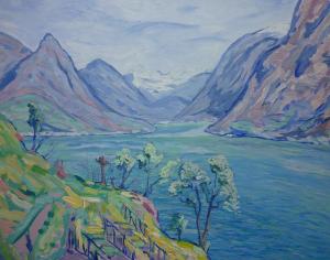 Schilderij van een berglandschap, dat is geïnspireerd op een werk van Filarski.