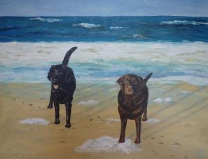 Schilderij van mijn bruine en zwarte labrador Bo en Diesel op het strand, in de branding