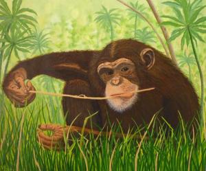 Schilderij van een chimpansee met een tak in zijn mond tegen een oerwoud achtergrond