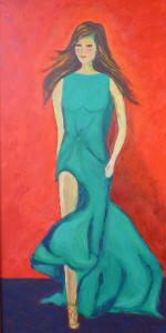 Schilderij van een dame met bruin lang haar, gekleed in een groene avondjurk, tegen een rode achtergrond
