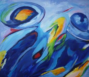 Abstract schilderij van dames in blauw (liggend)