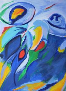 Abstract schilderij van dames in blauw (staand)