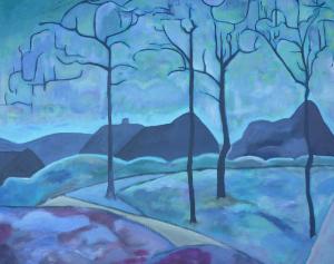Schilderij dat is geïnspireerd op  'De eerste sneeuw', een werk van Jaap Weyand