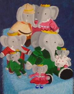 Schilderij van de Babar knuffelolifantenverzameling van mijn dochter