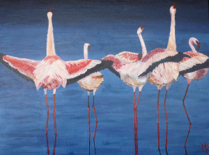 Schilderij van vijf flamingo's in blauw water