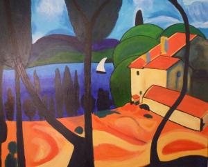 Schilderij van een Frans landschap, dat is geïnspireerd op een werk van André Derain. Deel 1 van 2