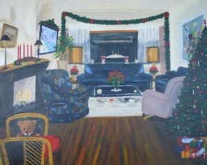 Schilderij van ons oude interieur in kerstsfeer met rechts de kerstboom met kado's eronder