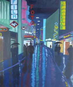 Schilderij vann Keulen bij nacht, met neon uithangborden aan de winkelgevels en regen op straat