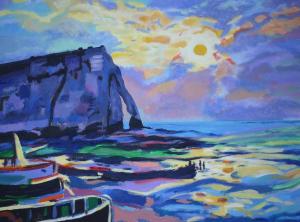 Abstract schilderij van de kust van Normandië