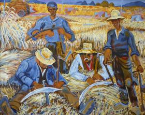 Schilderij van vier landarbeiders, dat is geïnspireerd op een werk van Johan Dijkstra