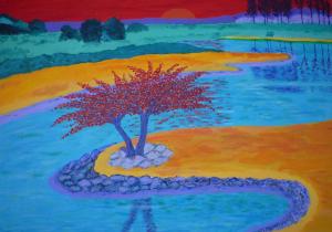 Kleurig schilderij van een landschap langs de Grensmaas