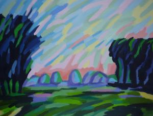 Landschap met hooibergen, in abstracte kleuren