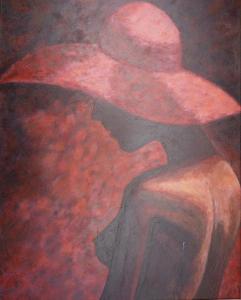 Schilderij in uitsluitend roodtinten van een naakte dame met hoed, schuin van achter gezien en een borst in beeld
