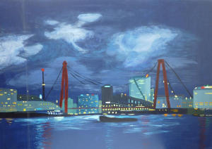 Schilderij van nachtelijk havengezicht Rotterdam