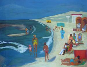 Schilderij van een stuk Noorzeestrand, met mensen die zonnebaden en kinderen die spelen in de branding
