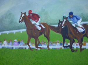 Schilderij van paardenrennen. Drie jockies ter paard strijden voor de winst, terwijl het publiek toekijkt