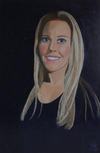 Portret van mijn dochter Amanda Aartse Tuijn, tegen een zwarte achtergrond