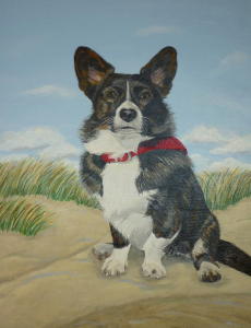Schilderij van Corgi hondje 'Rocky' in de duinen
