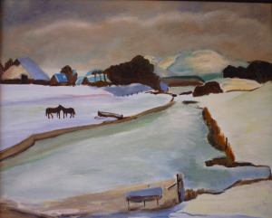 Schilderij van een sneeuwlandschap in Hargen, geïnspireerd op een werk van H. Kuijten