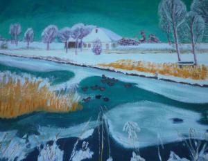 Schilderij van een sneeuwlandschap bij het Maalwater in Heiloo