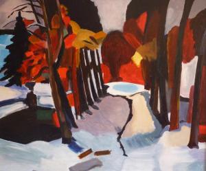Schilderij van een sneeuwlandschap, dat is geïnspireerd op een werk van Germ de Jong