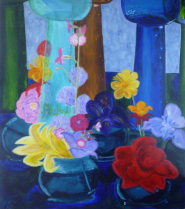 Schilderij met stilleven van bloemen en vazen