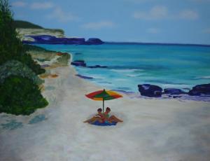 Schilderij van een stuk strand in een baai op Formentera, met twee mensen onder een gekleurde parasol