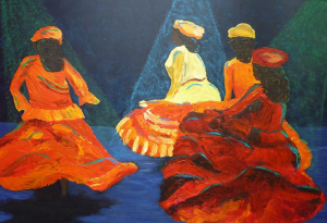 Schilderij van vier Surinaamse danseressen in rode, oranje jurken