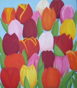 Kleurig schilderij met horizontale rijen tulpen in afwisselende kleuren, namelijk rood, roze, geel, wit en donkerrood