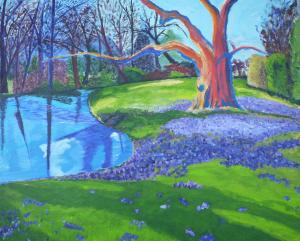 Schilderij van park tijdens vroeg voorjaar, wanneer de bomen en struiken net tot bloei komen