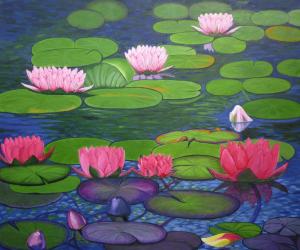 Schilderij van roze waterlelies met groene bladeren