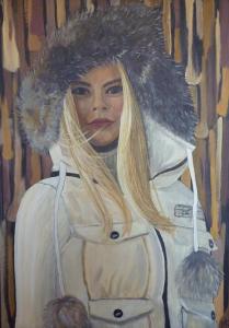 Schilderij van een dame met blond haar een witte winterjas aan en de capuchon op haar hoofd