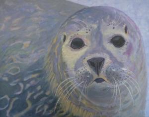 Schilderij van een zeehond, in grijs/paarstinten