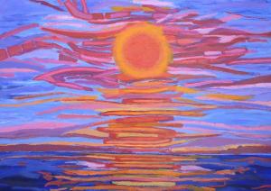 Kleurig schilderij van de zon die in de zee zakt tijdens zonsondergang